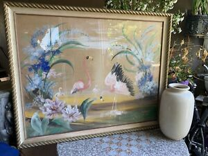 Vintage Watercolor painting Pink Flamingos In Glass 1950s