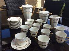 service a cafe porcelaine complet art deco  or