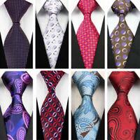 Red Blue White Dots Paisley Wedding Stripe Necktie 100% Silk Business Men Tie
