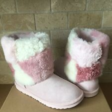 UGG Classic Short Patchwork Fluff Pink Suede Boots Size Kids Youth 5 = Womens 7