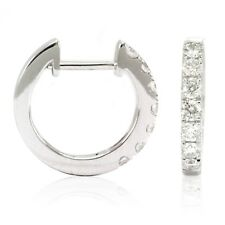 14k White Gold Diamond Huggies, 0.50tdw (NEW hoop earrings, 14x2mm) 4467