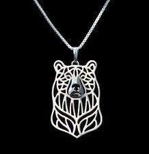 ❤ collar con remolque oso pendant, Necklace Bear plata