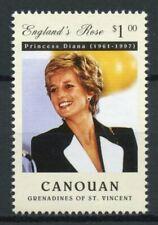 Canouan Grenadines St Vincent Royalty Stamps 1997 MNH Princess Diana 1v Set