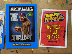 Signed Topps Wacky Packages Goes To The Movie Blue Border Smellboy Hellboy