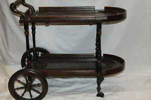 Vintage Mahogany Hand Carved  Drink Serving Cart Tea Trolley Inlaid