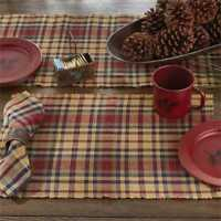 South River Placemat Park Designs Red Green Navy Mustard Plaid Dining Set 2