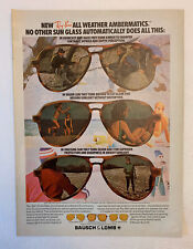 1978 Ray Ban Sunglasses By Bausch & Lomb Print Ad All Weather Ambermatics Sun