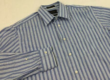 JOHN W NORDSTROM trad EGYPTIAN COTTON blue striped Dress Shirt sz 16 34 flaw