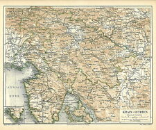 Alte historische Landkarte 1890: Krain-Istrien Kroatien Alpen Italien (M4)