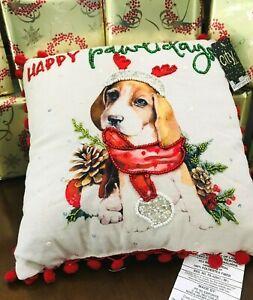 """Holiday **BEAGLE** Beaded POM POM trim Christmas PILLOW 12""""X12"""" NWT"""