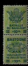 Wwii Bastogne Battle Of The Bulge Memorial Belgium Mint Overprinted Stamp Pair