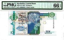 2013 Seychelles 10 Rupees S/N:AH000042 PMG 66 EPQ GEM UNC