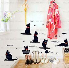 Wall Paper Home Art Dec Mural Point Sticker Lovely Cats