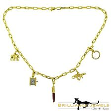 Estate Cartier Yellow Gold Charm Necklace with Cartier Santos Chain