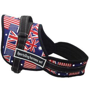NEW British flag Nylon Sports Dog Harness Padded Vest for Training large dog