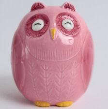 Seto ware Japanese Ceramic Piggy Bank (Coin/Change Bank) Owl Shape Pink