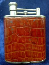 LIGHTER SHAPED DUNHILL LEATHER BOUND STAINLESS STEEL FLASK PRE WWII