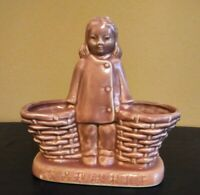 Vintage Art Pottery Planter Pot Pink Girl With Baskets