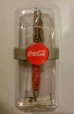 Coca Cola  Ball Point Pen Coke Bottle Clip--RED W/ BUBBLES--IN HOLDER 1998