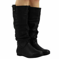 6f024c457f63 Womens Pixie Mid Calf Rouched Flat Pull On Knee Long Ladies Slouch Boots  Size