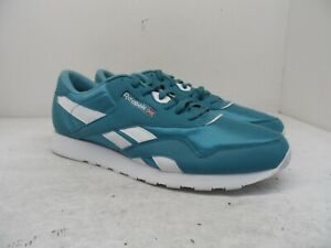 Reebok Mens Classic Nylon Color Athletic Casual Shoes CN7445 Turquoise/White 12M