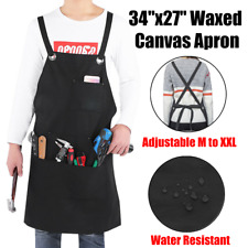 34x27 Waxed Canvas Work Apron With 3 Pockets Adjustable M To Xxl For Men Women