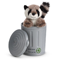 American Girl Doll LANIE RACCOON & CAN SET Plush Pet Trash Recycle Bin Lid + BAG