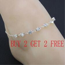 Adjustable Chain Foot Beach Jewelry Silver Ankle Bracelet Women Anklet