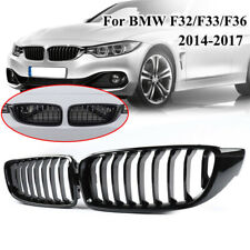 Pair For BMW 4 Series F32/F32/F36 420i 428i 435i 14-16 Front Grilles Gloss Black