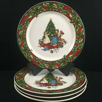 Set of 4 VTG Dinner Plates Christmas Celebration International Bob Timberlake