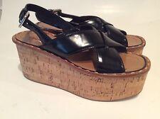PRADA Ankle Strap Wedge Cork Espadrille Black Sandals Shoes 38