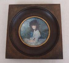 large antique vintage miniature portrait of a lady / impressionism / signed