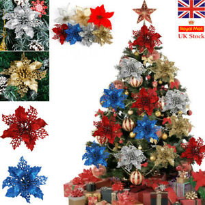10PCS Christmas Tree Flower Decorations Poinsettia Glitter XMAS Hanging Red Gold