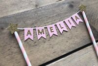 Pink & Gold Cake Bunting Cake Topper - Personalised