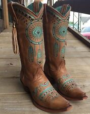 NIB CORRAL WOMEN'S TAN TURQUOISE DREAM CATCHER EMBROIDERED WESTERN BOOTS C2981