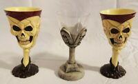 "Lot of 3 Plastic Resin Halloween Beer Wine Goblet Cups - 7.5"" - Gothic Skull"