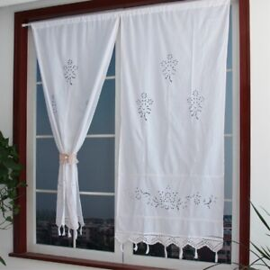 2 x Country Style Kitchen Cafe Curtain Cotton Linen Hollow Crochet Drape Panel