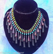 Egyptian Revival Multi-Coloured Plastic Jewels Dangle Beads Bib Necklace