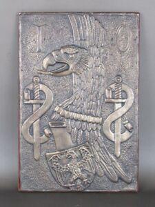 Vintage Placa de Pared Escudo Heráldico Figura Águila Con Espadas Época Xx Sec