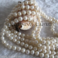 "100"" 4-6mm White Freshwater Pearl Necklace Strand Jewelry"