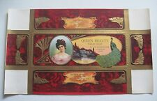 QUEEN BEAUTY Circa 1915 Soap Box Label  Logansport IN Embossed w/Gold Gilt