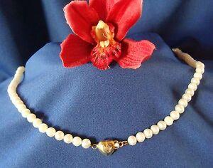 Perlen Collier Kette Halskette 585 Gold Herz Collierkette Perle / Y 200