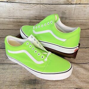 Vans Old Skool Shoes Neon Green Gecko True White Canvas Size 11.0 Men's NWT