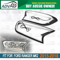 DRL Daytime Running Light LED Headlight Covers For Ford Ranger PX2 Everest 15-18