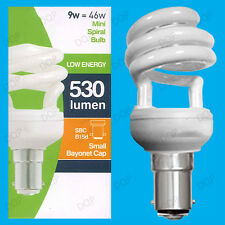6x 9w bajo consumo Luz Espiral Mini CFL Bombillas, SBC, B15, B15d Lámparas