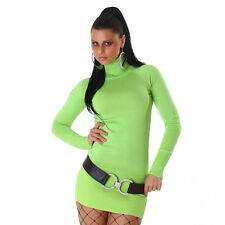 Basic Long Pulli MiniKleid Pullover KLEID Rollkragen tropical grün  34 36 38 S M