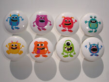 Set of 8 Boys Monster Dresser Drawer Knobs