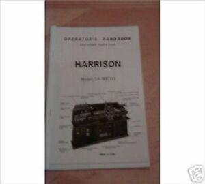 Harrison L6 Mk 3 Lathe Manual (Worldwide Posting)