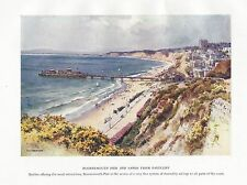 HASLEHUST VINTAGE PRINT : BOURNEMOUTH PIER AND SANDS FROM EASTCLIFF