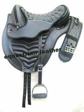 "Synthetic treeless saddle black with White stitching +matching Girth 15"""